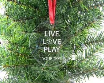 Personalized Custom live love play soccer Clear Acrylic Christmas Tree Ornament