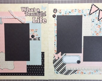 What a Beautiful Life - scrapbook page kit, premade scrapbook kit, 12x12 premade page kit, premade scrapbook pages, 12x12 scrapbook layout