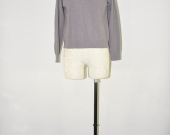 60s mauve wool pullover / vintage lambswool sweater / mock turtleneck sweater