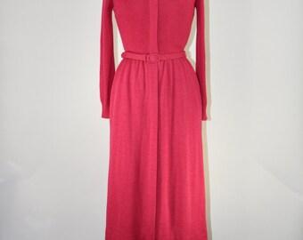 80s raspberry wool dress / knit wool jersey dress / 1980s long sleeve dress