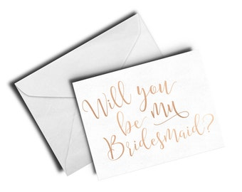 Will You Be My Bridesmaid- Foil stamped Bridesmaid Card, Personalized Stationery, Cute Bridesmaid Gift, Handmade