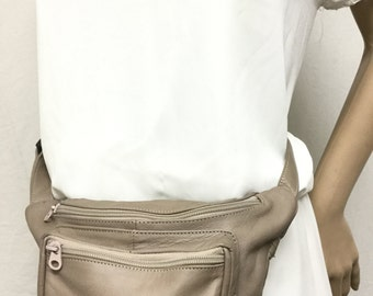 Leather Fanny Pack Tan leather,Gray ,Made in Mexico