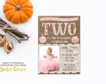 birthday photo invitations, birthday party invites, pink pumpkin invite, 2nd birthday invitations, pumpkin vintage roses, autumn fall invite