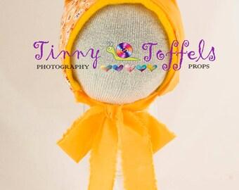 SALE Orange patchwork bear bonnet, newborn photography prop, UK seller, bear bonnet, accessoir photo, chapeau ours, bear photo prop