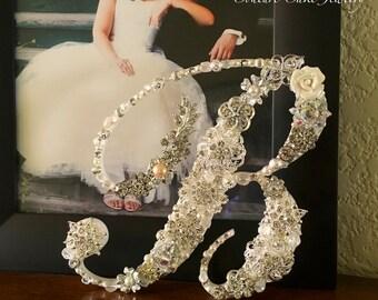 Brooch Covered Wedding Monogram Cake Topper in Script Font, Silver Bling Wedding Topper