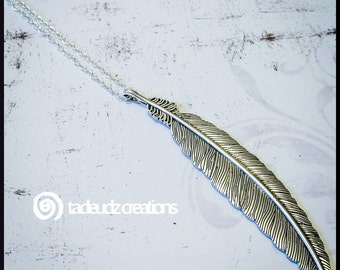 Large Silver Feather Pendant