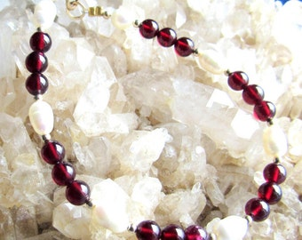 Bracelet, gemstone  5mm round garnet, 7mm freshwater pearl, 2mm 12k goldfilled beads and clasp, 7 inch, 7 1/2 and 8 inch in stock