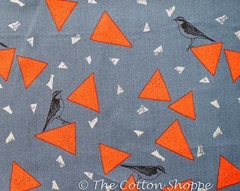 Echino Fragment ~ Huedrawer ~ Kokka Fabric ~ Grey Bird Fabric ~ Cotton Sateen ~ Japanese Fabric ~ Etsuko Furuya ~ Home Decor ~Apparel Fabric