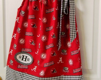Roll Tide, Crimson Tide, Bama, pillowcase dress, Alabama licensed fabric with Alabama black and white houndstooth trim at bottom and neck.