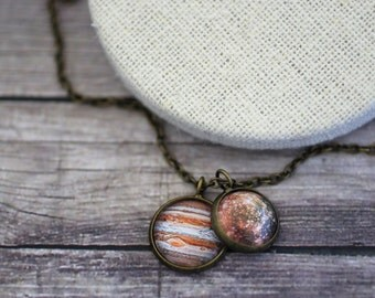 Jupiter and Callisto Necklace, Solar System Necklace, Universe , Space Jewelry, Solar System, Planet Necklace, Planet Jewelry, Galaxy, Stars