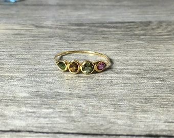 25% OFF Dainty Tourmaline Gemstone 14K Gold Ring, gemstone band, minimalist, Made to Order