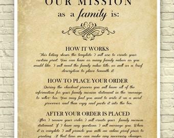 Family Mission Statement, Custom Mission Statement, Family Values Print, Family Gift, Wedding Gift, Christian Scripture, Custom Art Print