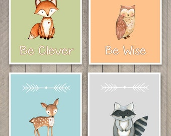 Woodland Nursery Art - Woodland Animal Art Prints, Set of 4 Prints, Woodland Nursery Decor Fox Raccoon Owl and Deer Art - Kids Wall Art