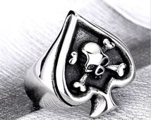 Skull Head Stainless Polished Silver Steel Large Crossbones Ace Ring Size 10