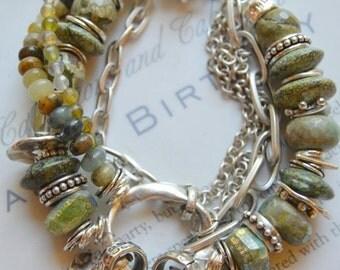 ON SALE vesuvianite bracelet, coin bracelet, jasper bracelet, southwestern bracelet, bohemian bracelet, green bracelet, boho chic bracelet
