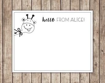 Giraffe Note Card / Personalized Stationery / Custom Thank You Note Card - Printable