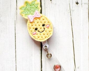 Cute Pineapple w /Bow Felt Name Badge - Name Badge Holder - Badge Reel - Unique Retractable ID Badge Holder - Felt Badge Reel