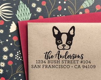 Custom Address Stamp - with  French Bulldog-Frenchie-Boston Terrier-Return Address Stamp, holiday gift , housewarming and weddings, birthday