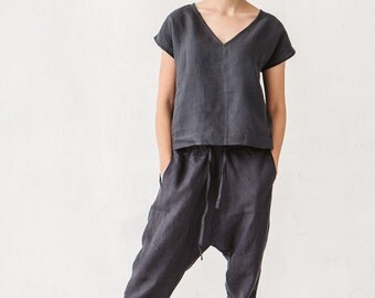 Harem pants, Linen pants, Woman pants, Natural linen pants, Trousers, Stone washed linen, French linen, Linen clothes, Yoga pants