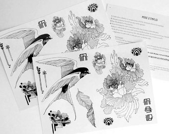 Temporary tattoos Big Size, fake tattoo, Hanoi I & II, Swallow tattoo, temp tattoos, ankle tattoo, flower tattoos, novelty gift coworker