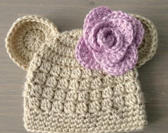 Crochet Baby Bear Beanie With Flower, Crochet Bear Hat, Baby Bear Hat, Crocheted Baby Hat, Baby Beanie, Hats for Girls, Baby Girl Hat