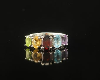 Sterling Silver Garnet, Amethyst, Spinel, Tourmaline & Peridot Ring Size 6 Vintage