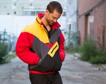 Down Filled Ski Jacket /Vintage Men's or Women's 1990's Triple F.A.T Goose Small Medium Ski Coat / Colorblock Swag Parka Hip Hop