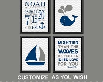 Nautical Baby Room Decor, Christian Nursery Decor, Nautical Baby Boy Room,  Bible Verse