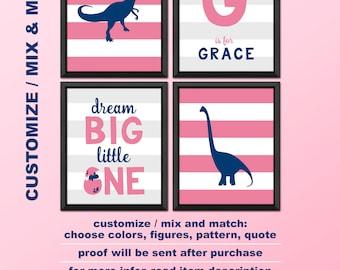 dinosaur girl decor, dinosaur girl nursery decor, dino baby girl room wall art, prehistoric girl nursery, dinosaur baby girl prints, trex