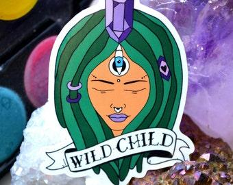 "Original glossy Vinyl art sticker ""Wild Child"" pack of 1"