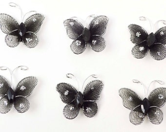 6 pc Black Sheer Nylon Glitter Tiny Small Stocking  Metal Wire Butterfly with Rhinestones Hair Bows AZ5976