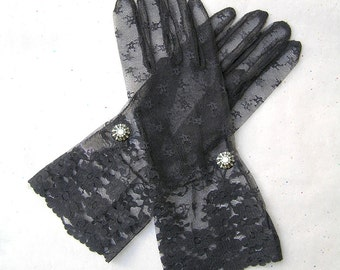 Black Lace Gloves, Bridal Lace Gloves, Black Gloves, 1920s Gloves with Rhinestone Jewelry, 1920s Fashion, Great Gatsby Jewelry, Opera Gloves