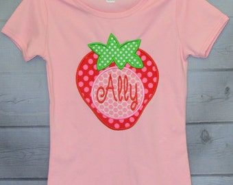 Personalized Strawberry Applique Shirt or Onesie Girl