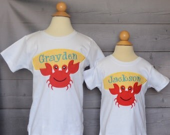 Personalized Crab with Surf Board Applique Shirt or Onesie Boy or Girl