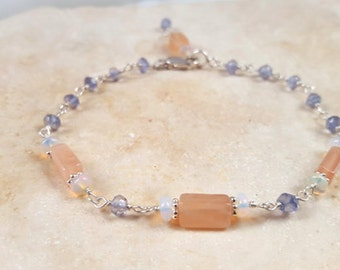 Gemstone Stacking Bracelet Ethiopian Opal, Iolite and Peach Moonstone Delicate Station Chain Dainty Boho Layering Handmade Fine Jewelry