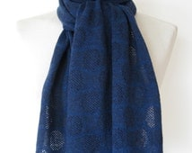 Handmade cashmere scarf/ knitted cashmere scarf/ indigo + navy cashmere scarf with navy border/ textured circle pattern scarf/ womans scarf/