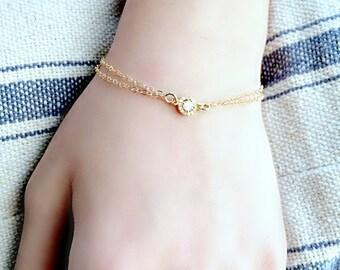 cubic zirconia diamond bracelet diamond Bracelet 14k gold filled hand stamped heart monogram initial april birthstone monogram jewelry gift