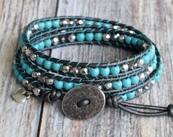 Turquoise Wrap Bracelet, Wrap Bracelet, Silver Wrap Bracelet, Bracelet Wrap, Leather Wrap Bracelet, Beaded Leather Wrap