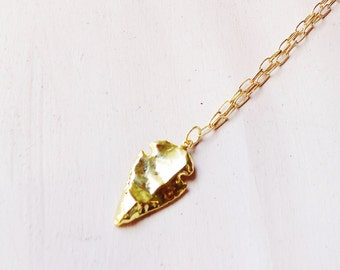 Gold Arrowhead Pendant Necklace