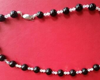 Black onyx Swarovski crystal sterling silver necklace