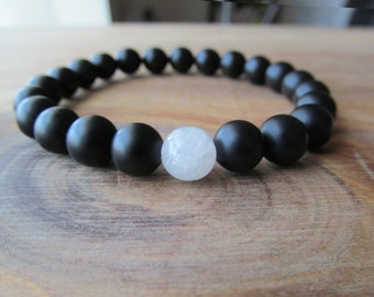 Moonstone and Matte Black Onyx Bracelet, Stacking Bracelet, Men's Bracelet, Mala Bracelet, Layering Bracelet, Beaded Bracelet, Yoga Bracelet