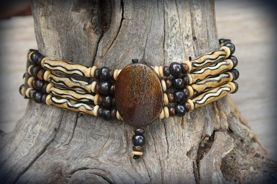 Native American Indian Choker Brown Bone Necklace Arrowhead