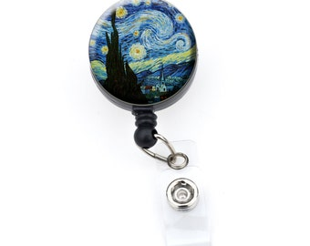 Starry Night ID Badge Nurse Retractable Badge Reels/ ID Badge Holder