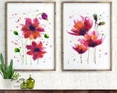 Poppy watercolor painting, Set of 2 flower, Floral prints, Botanical art, Red wall art, Fuchsia Red flower, Red poppies print, Garden print