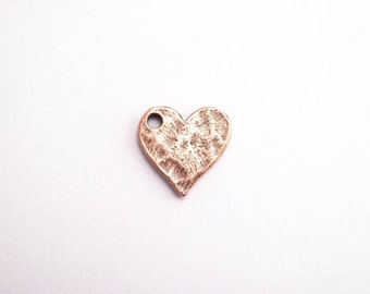 Antique Copper Heart Tag Charm, (1 pc) 12.6 x 12.2 x 1.3mm Heart Charms, Copper Heart Charms, Nunn Design Charms CHM0106