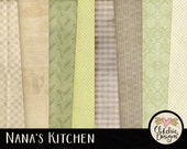 Cooking Digital Paper Pack - Nana's Kitchen Digital Scrapbook Paper Background Textures - Cooking & Kitchen Paper Pack