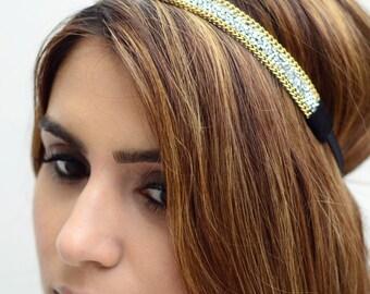THE COCO - Gold Silver Sparkling Gem Headband Coachella Hippie Boho Bohemian Native Festival Style Elastic Stylish Hair Band