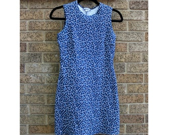 90's Aqua Blues Stretch Flower Dress