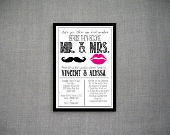 Lips & Mustache Couple's Shower Invitation 5x7