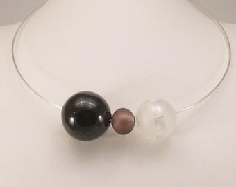 Blown glass necklace, Murano glass jewelley